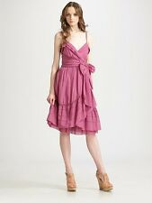 DVF Diane Von Furstenberg KASI Cotton Voile Dress Plum Mist 12 US $325