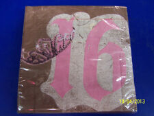 Sweet Birthday Sixteen 16th Pink Brown Girls Cute Party Paper Luncheon Napkins