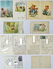 CARTOLINA EPOCA AUGURI DI BUONA PASQUA 6 pezzi  1951 1952 DATE BOLLI E TIMBRI