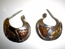 VINTAGE RAM STERLING / BRASS CUFF EARRINGS HANDWROUGHT CHRISTMAS HOLIDAY GIFT