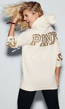 NEW Victoria's Secret PINK Bling Campus Pullover Hoodie Winter White Gold S