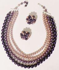parure bijou vintage collier boucles d'oreilles clips perles mauve parme * C1