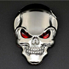 3D Metal Silver Skull Crossbones Car Sticker Window Styling Decal, Chrome