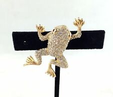 CHRISTIAN DIOR VINTAGE GOLD TONE CRYSTAL ENCRUSTED PAVE FROG BROOCH/ PIN