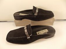 BRIGHTON (MADE IN BRAZIL) BLACK SOFT SUEDE LEATHER FLAT  HEEL MULE 7 1/2 M $195