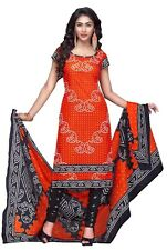 Vatika Women's Cotton Unstitched Dress Material(D01_Orange & Black_Free size)