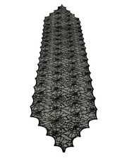 "Black Lace Spider Web Table Runner 18""x72"" Scalloped Gothic Drape HALLOWEEN"