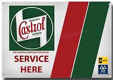 LGE A3 SIZE CASTROL OIL SERVICE HERE METAL SIGN,RETRO,GARAGE.