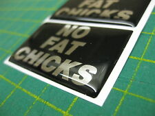 2 'NO FAT CHICKS' FUN NOVELTY DOMED STICKERS V001