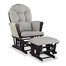 Nursery Glider Chair Baby Rocker Furniture Ottoman Set Beige Cushion Dark Wood