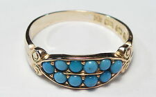 Antique Victorian 1886 Turquoise 18ct Gold Ladies Ring
