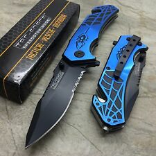 TAC-FORCE Black Widow Spider Black & Blue Hunting Tactical Outdoor Pocket Knife