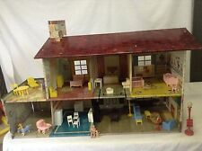 Vintage 40's Tin Doll House With Furniture and Two Figures.