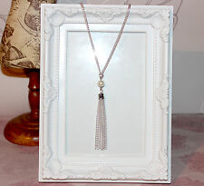 Vintage/flapper/1920's long silver plate necklace with pearl beads & tassel