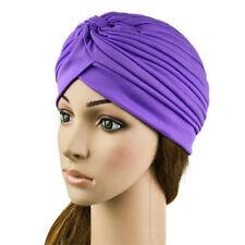 Purple Women Turban Head Wrap Hat Chemo Bandana Hijab Pleated Stretch Indian Cap