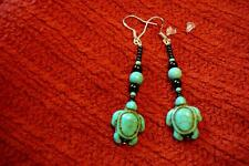 Native American Indian - Turquoise Turtle & Black Onyx Sterling Silver Earrings