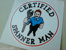 CERTIFIED SPANNER MAN Car Van Tool Box Sticker Decal 1 off 85mm