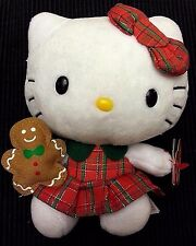 """6"""" Plush Hello Kitty Ty Beanie Baby  with gingerbread man Scottish NEW"""