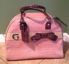 Guess Kale 2 Croco Pink & Brown Travel Carry On Bag Luggage Dome Tote Purse NEW!