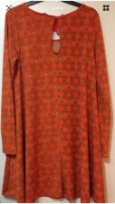 Fearne Cotton Swing Dress Size 10 Orange/Retro Pattern New With Tags