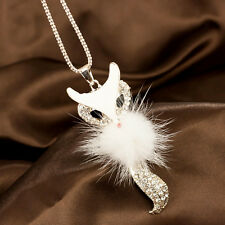 Women's New Fashion Diamond Long Chain Fox Pendant Sweater Necklace Gift