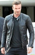 Men's David Beckham Black Real Leather Jacket Vintage Slim Fit Style