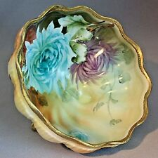 Antique NIPPON FOOTED BOWL Blue Purple Flowers Gold Blue Maple Leaf HAND PAINTED
