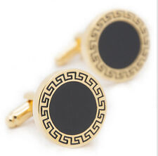 Classic Golden Round Enamel Cufflinks Wedding Business Shirt Black Gold Gifts