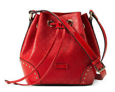 NWT $1600 GUCCI Bright Diamante Small Leather Bucket Camera Bag Red!