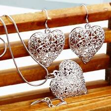 Pretty beautiful Fashion charms women silver heart Earring Necklace set jewelry