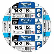 15' Roll 14-3 AWG NM-B Gauge Indoor Electrical Copper-Wire White Romex 15 Amp