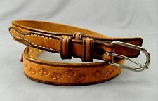 """Tooled Leather Ranger Belt Western Cowgirl Flowers Floral 28 1""""w"""