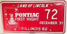 PONTIAC FIRST NIGHT license plate New Year's Eve Illinois Car General Motors GM
