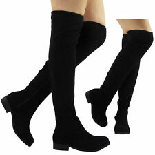 WOMENS LADIES OVER THE KNEE THIGH HIGH STRETCH BOOTS UK3 EU36 JS24 42