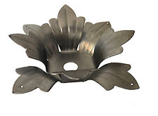 """8 PETAL 3-3/4"""" STAMPED STEEL FLOWER HUSK BOBECHE CANDLE CUPS W/4 PRISMS HOLES."""