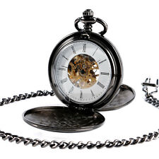 Retro Roman Skeleton Mechanical Windup Pocket Watch Black Double Hunter Pendant