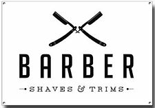 BARBER SHAVES AND TRIMS A4 METAL SIGN,RAZOR,ART FLASH,POSTER,BARBER POLE
