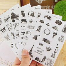 6pcs Retro Gommettes Fantaisie Autocollant Sticker DIY Scrapbook Variété Motif