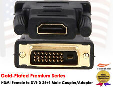 DVI-D Male to HDMI Female Gold Adapter Audio Video Coupler