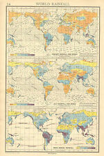 1942 MAP CHART ~ WORLD RAINFALL & WINDS JANUARY & JULY MEAN ANNUAL
