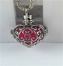 Silver Hollow Cage Perfume Essential Oils Aromatherapy Diffuser Locket Necklace