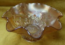 "Antique EAPG Northwood Star of David and Bows Marigold Carnival Glass 7.5"" Bowl"