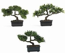 Nearly Natural 4121 12 Inch Bonsai Silk Plant Collection Set of 3- Green