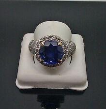 14K Yellow Gold Men's Ring Round Blue Sapphire  With 1.75CT Diamond Gold&Diamond