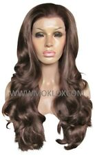 "Front Lace Synthetic Wig 24"" Very Long Wavy Curly Medium Mid Brown 4 Moklox UK"