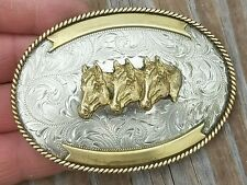 """3 1/2"""" x 2 1/2"""" VINTAGE MONTANA SILVERSMITH 3 HORSE HEAD  TROPHY BUCKLE.ENGRAVED"""