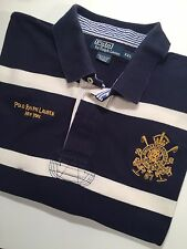 Vintage POLO RALPH LAUREN Crest Logo Rugby Men's Shirt XXL Short Sleeve Striped