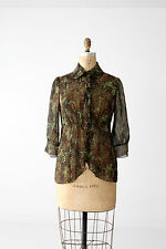 Tuleh silk blouse green and black semi sheer size 8