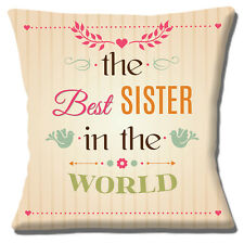 """'THE BEST SISTER IN THE WORLD' UNIQUE GIFT IDEA CREAM 16"""" Pillow Cushion Cover"""