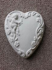 Cherub heart rubber latex mould mold wall hanging decor plaque plaster concrete